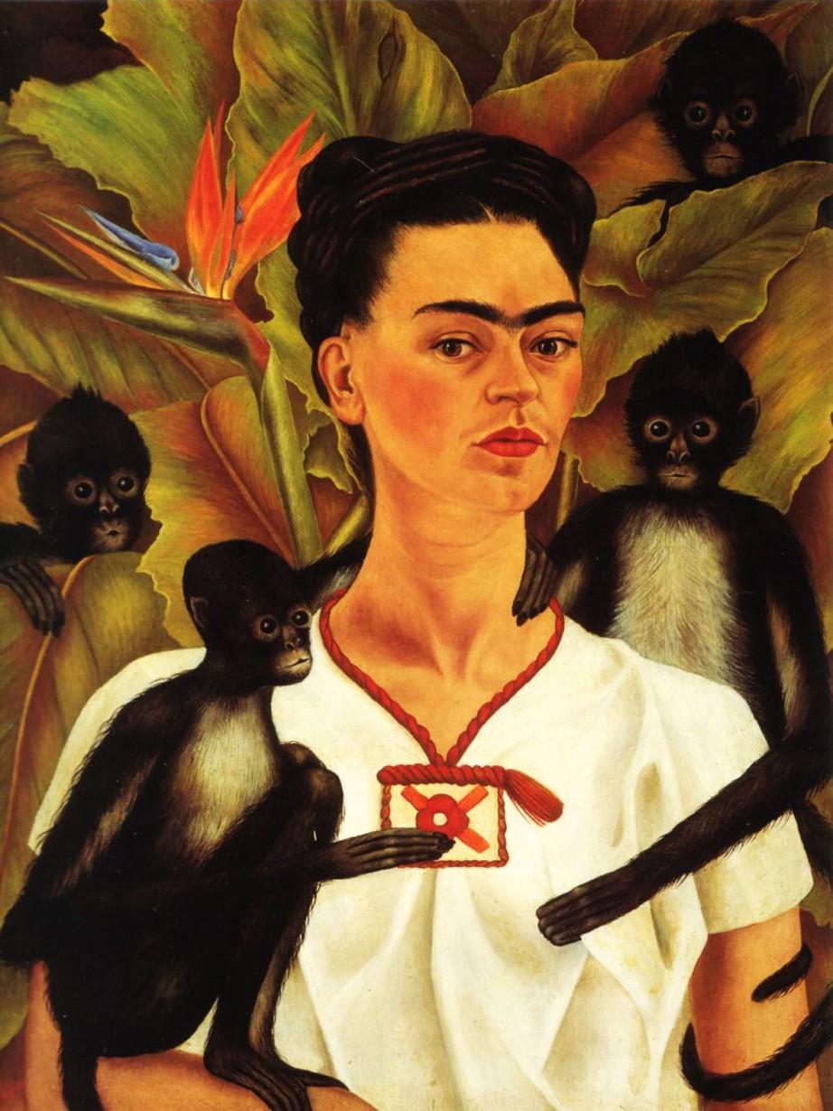 shake2shock_lisa_Frida Kahlo_Self Portrait with Monkeys_Bird of Paradise Flower_1943
